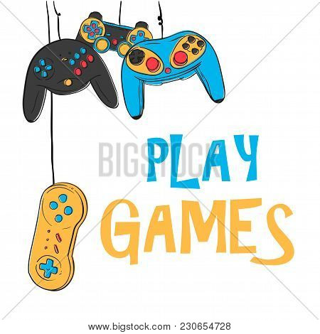 Play Games Hanging Joystick Background Vector Image