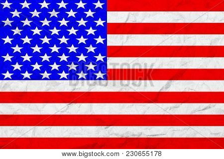 Flag Of United States Of America. Vintage Style. Old Wall Texture. Faded Background.