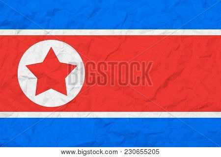 Flag Of North Korea. Vintage Style. Old Wall Texture. Faded Background.