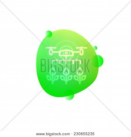 Vector Illustration Of Hi-tech Drone Farming Icon Isolated On White Background.