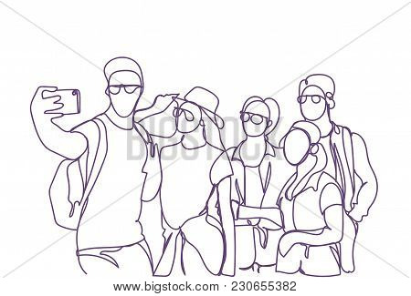 Casual Group Of Young People Taking Selfie Photo On Smart Phone Doodle Men And Women Make Self Portr