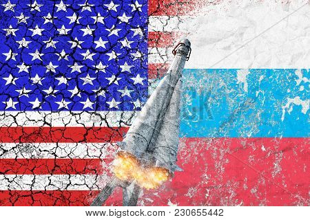 Confrontation Between The Usa And Russia. Threat Of Nuclear Strike. The Flags Of Two Countries Paint