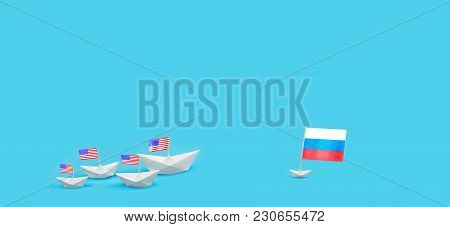 Confrontation Between The Us And Russia. Threat Of Nuclear Strike. Armed Clash Warships. Naval Battl