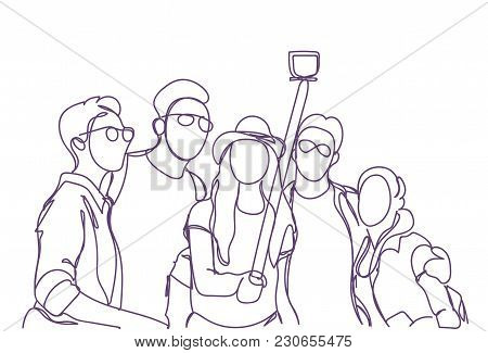 Group Of People Taking Together Selfie Photo With Stick Doodle Men And Women Make Self Portrait Vect