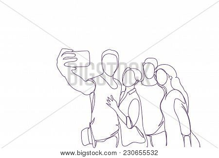 Group Of Sketch People Taking Self Portrait Photo On Smart Phone Camera Doodle Men And Women Vector