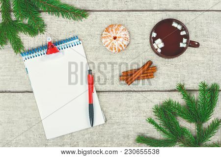 Christmas Letter. Cup Of Hot Coffee With Cinnamon And Marshmallow, Tangerine, Fir Branches And Pine
