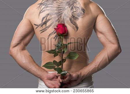 Muscular Unclothed Guy Standing With His Back And Concealing Rose Behind It. Isolated On Background.