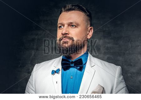 Studio Portrait Of Bearded Male Dressed In A Blue Shirt, White Jacket And A Bow Tie Over Grey Backgr
