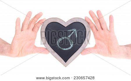 Adult Holding Heart Shaped Chalkboard - Female