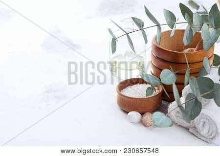 Massage And Spa Products With Branches Of Eucalyptus.