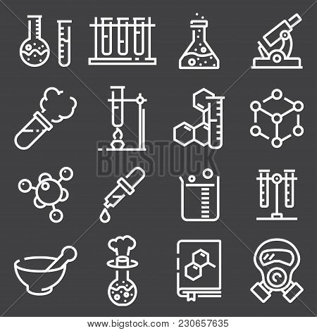 Chemistry Icon Set. Collection Of Science Silhouette Icons