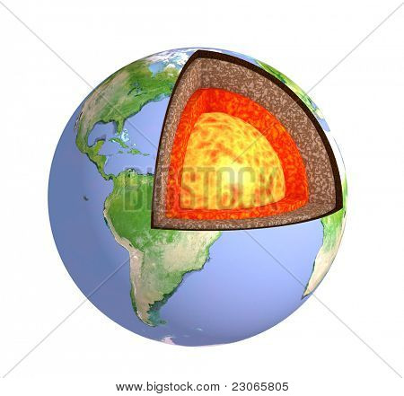 Structure of the Earth. Isolated over white