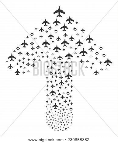 Jet Plane Composition Composed In The Combination Of Up Movement Arrow. Upwards Directional Arrow Sh