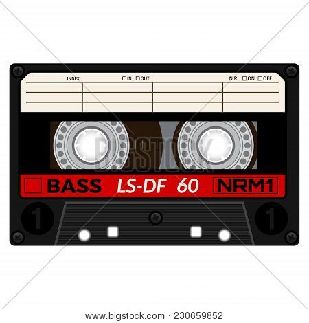Plastic Audio Cassette Tape. Realistic Illustration Isolated On White.