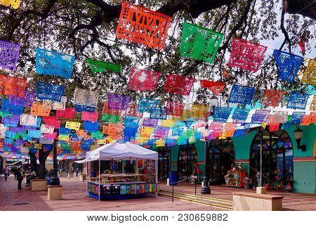 San Antonio, Usa, 2018.03.05.: At The Market Square In San Antonio In The Usa.