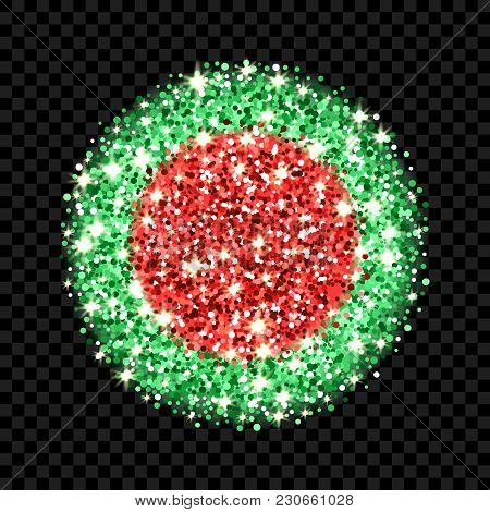 Peoples Republic Of Bangladesh Flag Sparkling Badge. Round Icon With Bengal National Colors With Gli