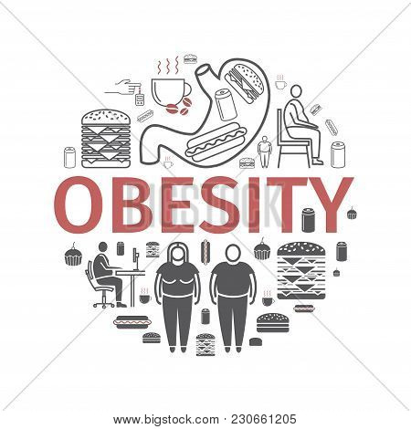 Obesity Line Icon. Vector Sign For Web Graphics.