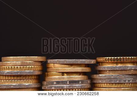 Euro Coins. Euro Money. Profitable Business. Financial Expenses.