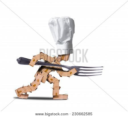 Chef Box Character Holding A Large Fork Like A Spear. White Hat And White Background. Cooking, Job A