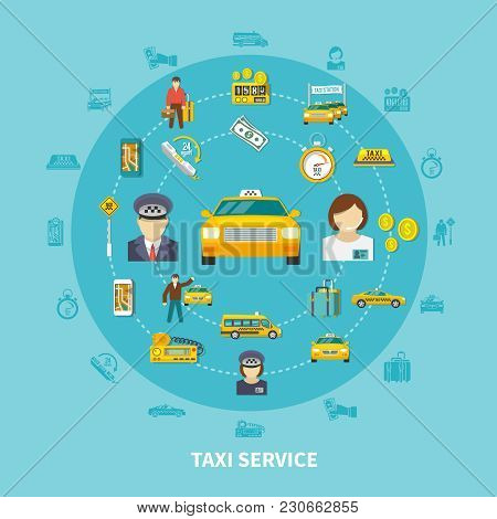 Taxi Round Composition With Silhouette Icons And Images Of Taxi Provider Cabs Money Baggage And Peop