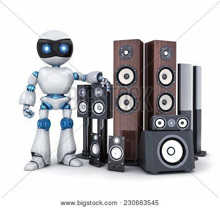 Robot And Modern Sound Speaker. 3d Illustration