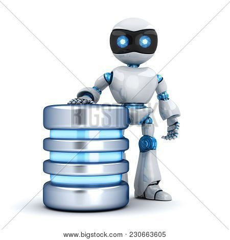 White Robot And Database Abstract. 3d Illustration