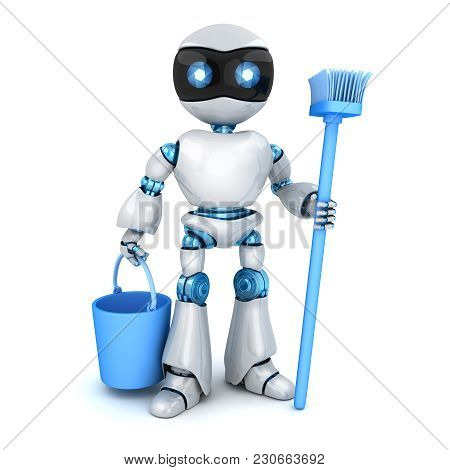 White Modern Robot Stay And Cleaner. 3d Illustration