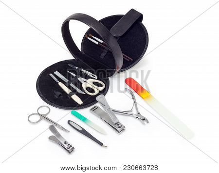 Different Scissors, Nail Clippers And Other Hand Tools For Nail Care And Manicure Set In Black Round
