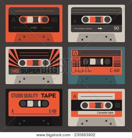 Cool Vintage Audio Cassettes, Retro Technology Set.