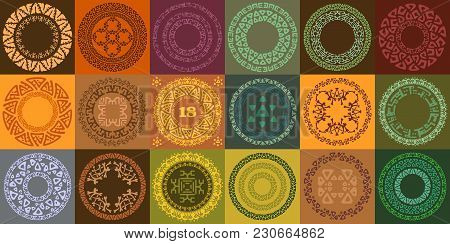 Set Of Hand Drawn Ethnic Circle Frames. Round Labels With Ornamental Borders. Decorative Isolated El