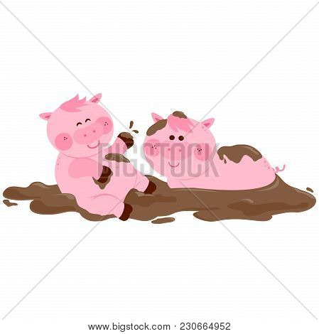 Pigs Playing In A Mud Puddle. Vector Illustration