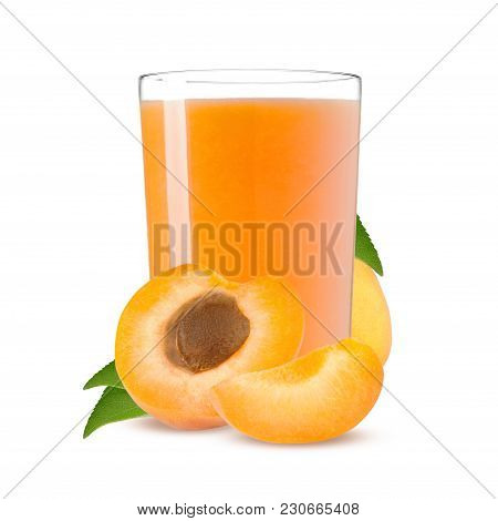 Orange Apricots With Leaf And Apricot Juice Isolated On A White Background.