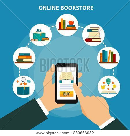 Internet Book Store Composition On Blue Background With Smartphone In Hand, Buying Literature Online