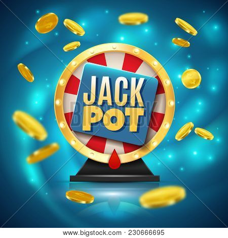 Jackpot On Fortune Wheel Realistic Blue Sparkling Background With Golden Glossy Coins 3d Vector Illu
