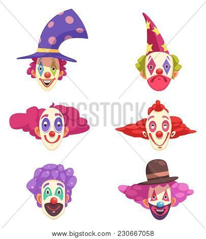 Masks Of Clowns Set With Various Grimaces On Faces And Colorful Curly Hair Isolated Vector Illustrat