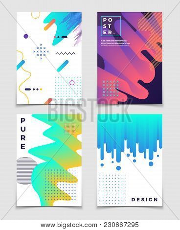 Futuristic Abstract 3d Fluid Oil With Memphis Pattern Elements. Modern Party Vector Posters. Brochur