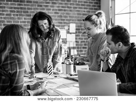 Group of diverse people having a meeting
