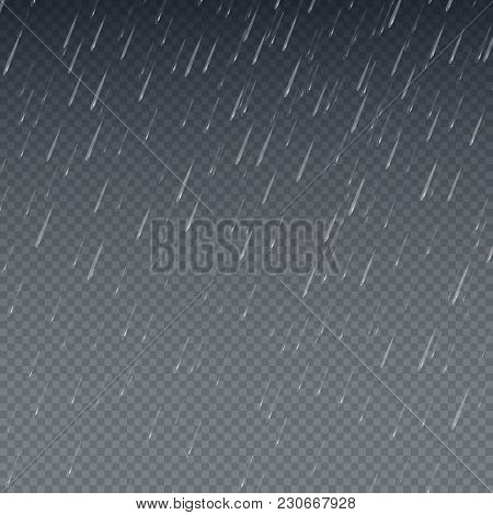 Rain Vector Wallpaper. Falling Water Drops Isolated Vector Illustration. Rainy Sky Background. Rain