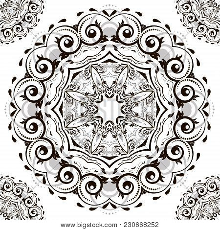 Ornamental Round Organic Pattern, Circle Background With Many Details. Оrnament Can Be Used For Wall