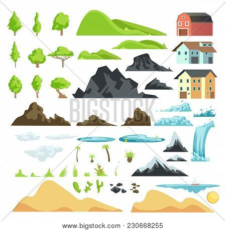 Cartoon Landscape Vector Elements With Mountains, Hills, Tropical Trees And Buildings. Hill And Moun