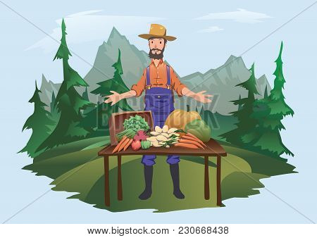Farmer's Market, Village Fair. A Man Standing Behind A Counter With Vegetables Grown On The Farm. Is
