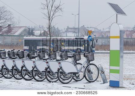 City Bikes And City Bus - Public Transport In The City
