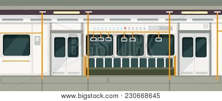 Empty Subway Train Inside View. Metro Carriage Vector Interior. Transport Train Subway Interior Empt