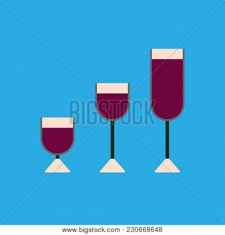 Three Wine Glasses: Shot Glass, Wine Glass, Champagne Glass. Modern Flat Design On A Blue Background