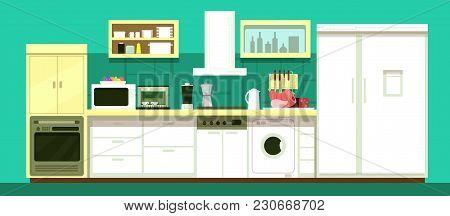 Nobody Cartoon Kitchen Room Vector Interior. Illustration Of Kitchen Interior Furniture For Dining