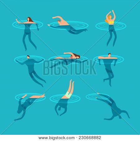 Swimming And Diving People In Swimming Pool Cartoon Vector Illustration. Swim Sport And Dive In Sea,