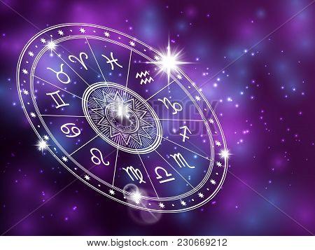 Horoscope Circle On Shiny Backgroung - Space Backdrop With White Astrology Circle. Horoscope Zodiac,