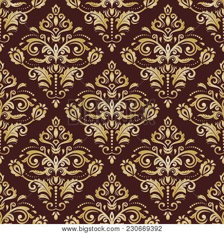 Classic Seamless Vector Pattern. Damask Orient Golden Ornament. Classic Vintage Background