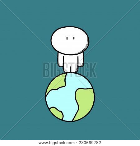 Lonely Cute Man On The Planet Earth In Empty Space. Alone Person In The Whole Universe, Loneliness A