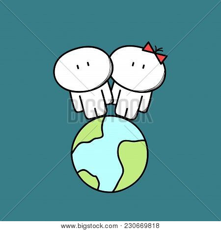 Cute Man And Woman Are Together On The Planet Earth In Space. Love Couple, Relationships, Friendship